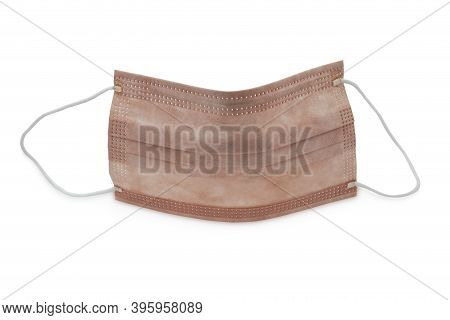 Medical Protective Mask With Copper Oxide Isolated On White Background, Studio Shot