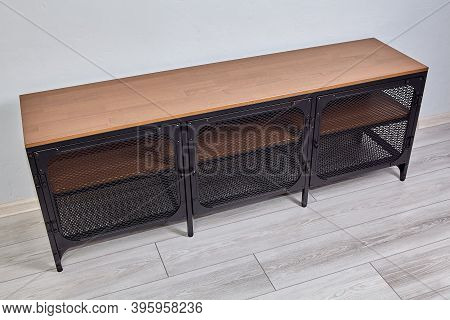 Metal Furniture With Chipboard Shelves Can Serve As A Tv Stand, Or Be Used As A Closed Shelf For Sho