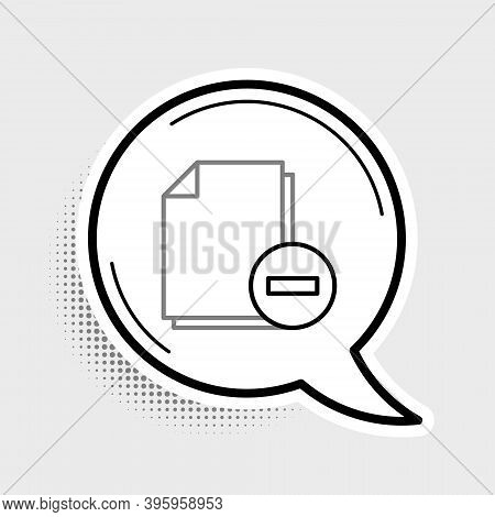 Line Document With Minus Icon Isolated On Grey Background. Clear Document. Remove File Document. Del