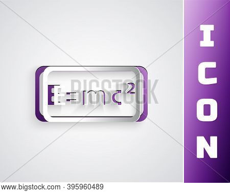 Paper Cut Math System Of Equation Solution Icon Isolated On Grey Background. E Equals Mc Squared Equ