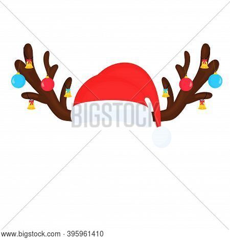 Reindeer Antlers With Christmas Balls And Bells And Santa Claus Hat. Funny Selfie Photo Mask