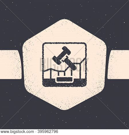 Grunge Online Internet Auction Icon Isolated On Grey Background. International Trade Concept. Invest