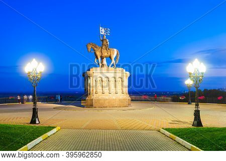 Monument To Grand Prince Vladimir And Saint Fedor In Vladimir City, Golden Ring Of Russia At Sunset