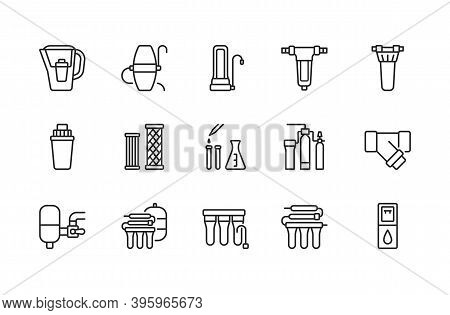 Water Filter Flat Line Icon. Vector Illustration Of Different Types Of Water Filtration Equipment In
