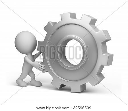 3D Person With A Gear Wheel