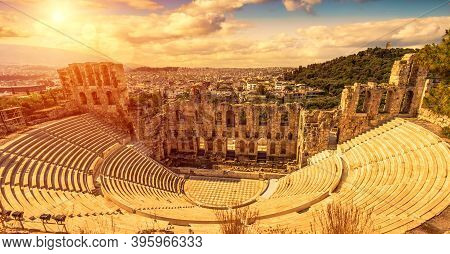 Odeon Of Herodes Atticus At Sunset, Athens, Greece. It Is Old Famous Landmark Of Athens. Scenic Pano