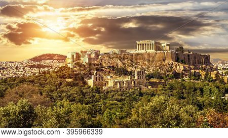 Acropolis Of Athens At Sunset, Greece. It Is Top Landmark In Athens. Scenic Sunny View Of Classical