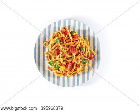 Pasta With Tomato Sauce And Basil. Delicious Tagliatelle. Italian Tasty Food