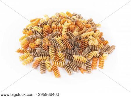Uncooked Macaroni Isolated On White Background