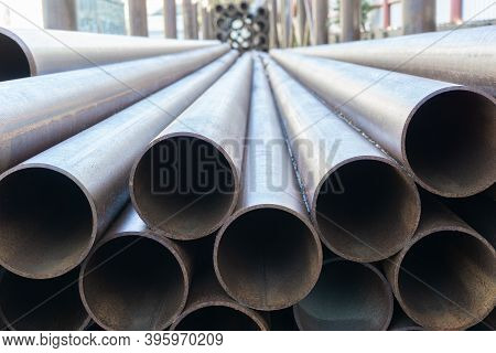 Large Steel Pipes Close Up. A Bunch Of Metal Pipes. Steel Water Pipes.