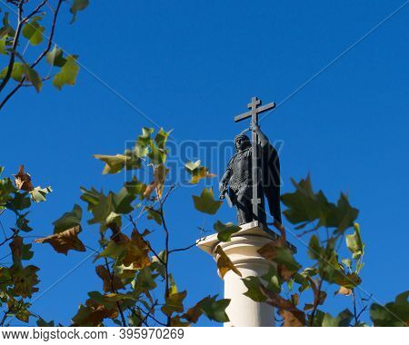 Russia, Sochi, November, 2020: Monument To Saint Michael The Archangel. Monumental Column With A Scu
