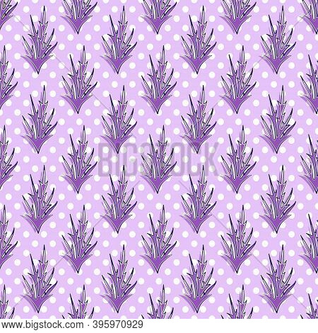 Abstract Seamless Pattern Of Funny Amethyst Sharp Twigs, White And Blue Strokes Of Different Widths.