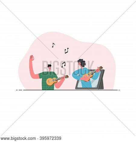Music Online School. The Man Plays The Ukulele, The Woman Teaches The Ukulele Inside The Tablet. Onl