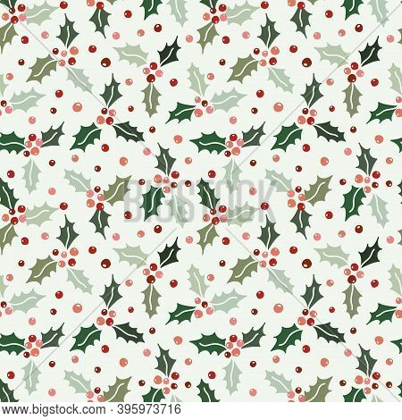 Seamless Pattern Background With Holly Berries. Celebrating Christmas Pattern. Vector Illustration.f