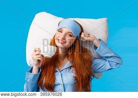 Perfect Morning Of Princess. Cheerful, Tender Redhead Woman With Long Ginger Hair, Wearing Sleep Mas