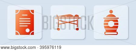 Set Dead Body In The Morgue, Death Certificate And Funeral Urn. White Square Button. Vector