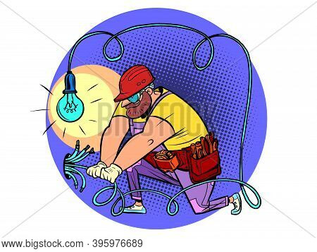 The Electrician Lays The Wires. Home Renovation And Decoration. Comics Caricature Illustration Drawi