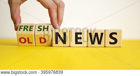Male Hand Turns Cubes And Changes The Words 'old News' To 'fresh News' Or Vice Versa. Beautiful Yell