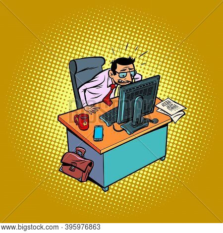 Angry Anxious Male Businessman Works At An Office Workplace At A Computer. Comic Cartoon Vintage Ret