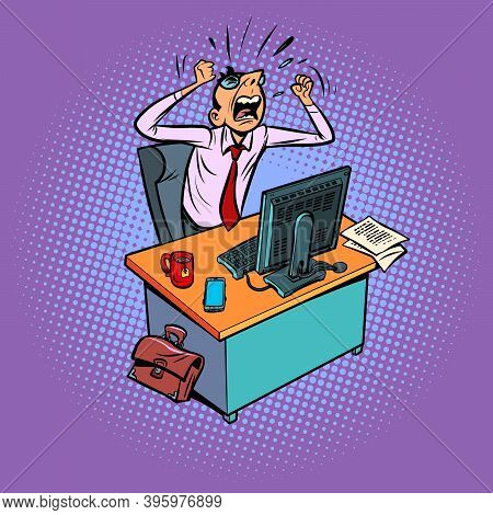 Angry Furious Male Businessman Works At An Office Workplace At A Computer. Comic Cartoon Vintage Ret