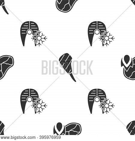 Set Grilled Steak Meat And Fire Flame, Rib Eye Steak And Fresh Frozen Fish Steak On Seamless Pattern