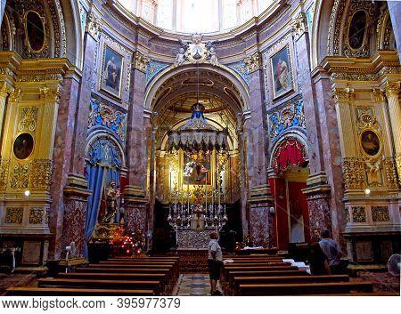 Mdina, Malta - 19 Jul 2011: Metropolitan Cathedral Of Saint Paul, Mdina, Malta