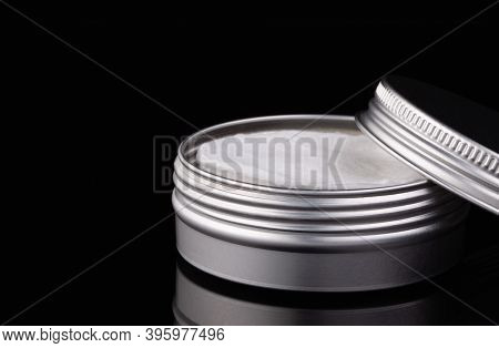 Silver Metal Containers For Make-up Removing Tampons Isolated On The Black Glass Desk.