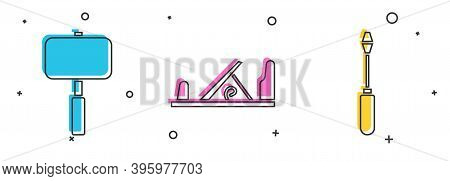 Set Sledgehammer, Wood Plane Tool And Screwdriver Icon. Vector