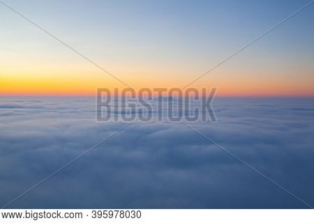 Amazing Sunrise Above Clouds From The Top Of The Mountain In Central Bohemian Uplands, Czech Republi