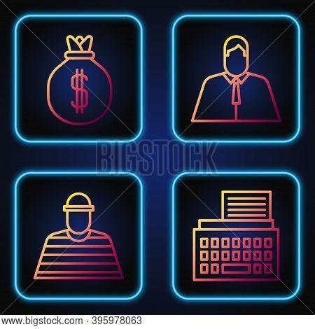 Set Line Retro Typewriter, Prisoner, Money Bag And Lawyer, Attorney, Jurist. Gradient Color Icons. V