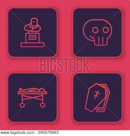 Set Line Grave With Tombstone, Dead Body In The Morgue, Skull And Coffin Cross. Blue Square Button.
