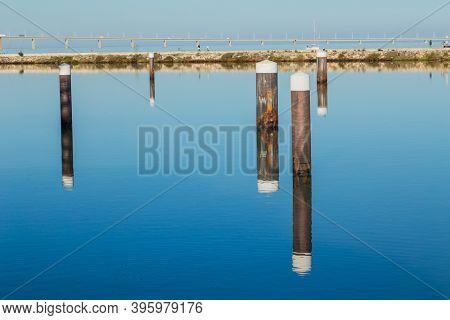 Walkway with view on Vasco da Gama bridge on the Tejo river. Lisbon, Portugal.