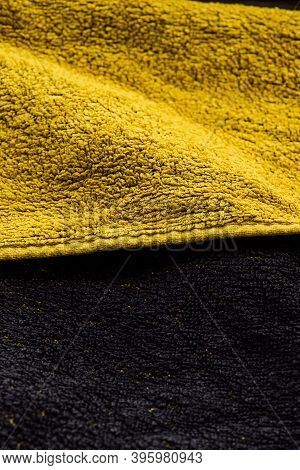 Yellow And Black Terry Cloth Towel Texture, Yellow And Black Terry Towel