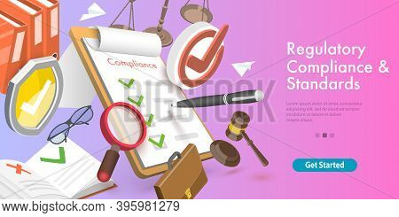 3d Vector Conceptual Illustration Of Regulatory Compliance And Standards