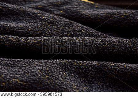 Black Color Terry Cloth Towel Texture, Black Color Terry Towel