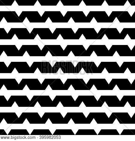 Seamless Vector. Zigzag Lines Background. Jagged Stripes Pattern. Geometric Waves Ornament. Curves I