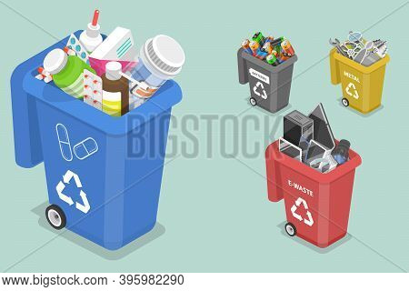 3d Isometric Flat Vector Concept Of Sorting Waste For Recycling