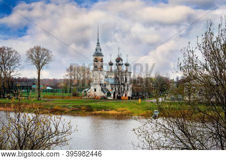 Church Of The Presentation Of God In Vologda At On A Cloudy Day On The Background Of Clouds, Russia.