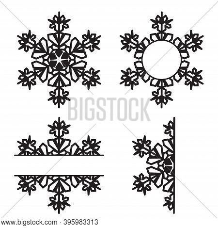 Snowflakes Cutout Set Isolated On White Background. Flat Winter Snow Icons, Silhouette. Christmas El