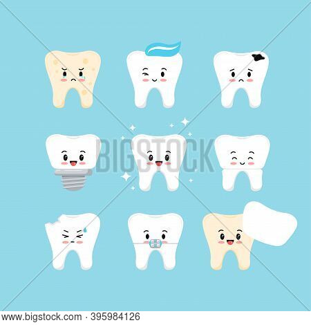 Cute Teeth Dental Kids Icon Set. Tooth Collection - Plaque, Caries Hole, Implant, Clean Healthy, Cro