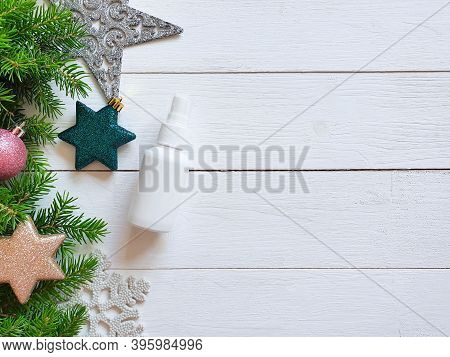 Top View And Close-up Of White Plastic Spray Bottle Mockup Fir Branches, Decorations, Stars, Balls O