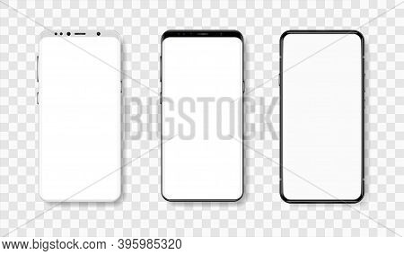 Frontal View Of Smartphones In Realistic Style With Blank Display. High Level Of Detail. Vector Mock