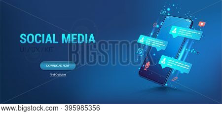 Social Network And Social Media Illustration Concept. Chatting And Communication On Modern App. Mobi