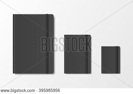 Vector 3d Realistic Black Closed Blank Paper Notebook Set Isolated On White Background. A4, A5, A6,