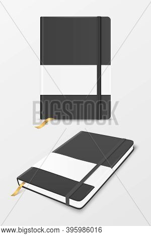 Vector 3d Realistic Black Closed Blank Paper Notebook With Label And Bookmark Set Isolated On White.