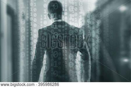 Futuristic Background Matrix Mixed Media Binary Code Concept.