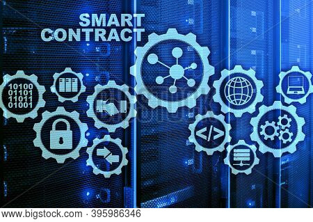 Smart Contract On Modern Server Room Background. Business Technology.