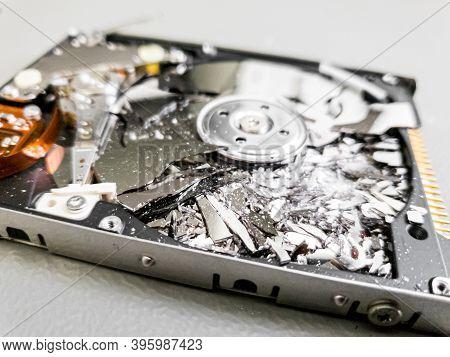 Shattered Platter Of Computer Hard Drive Disk.