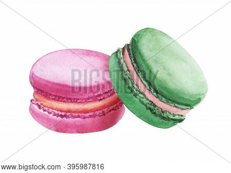 Watercolor Image Of Two Colorful Macaroons Isolated On White Background. Hand Drawn Illustration Of