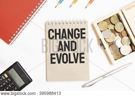 Calculator,red Notepad, Three Colour Pencils, Silver Pen And Brown Notebook With Text Change And Evo